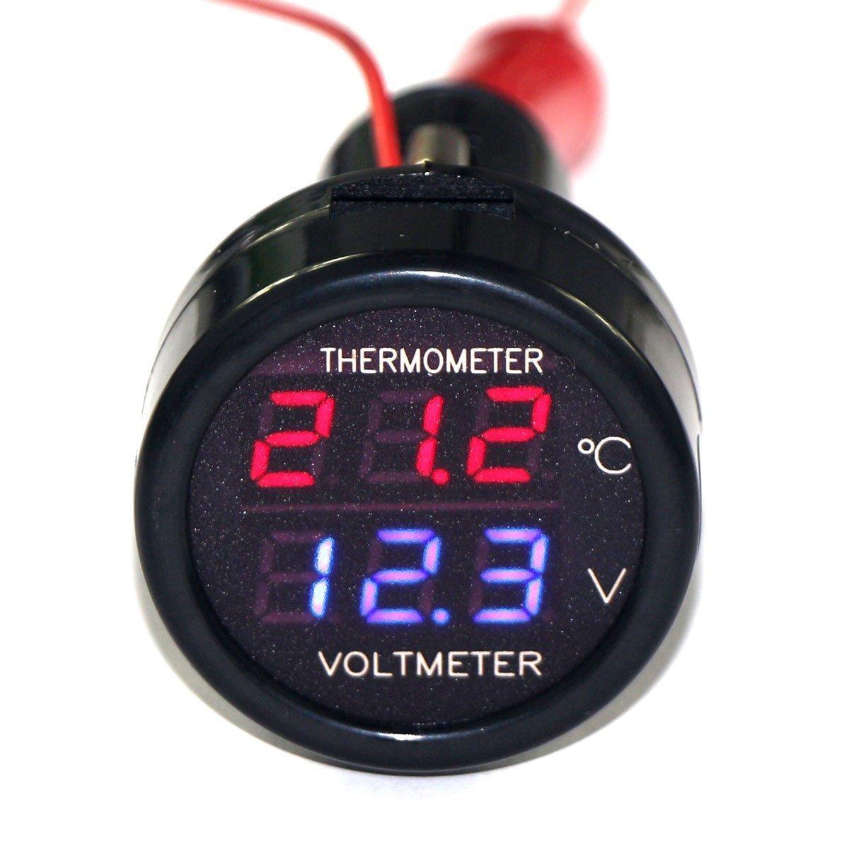 Voltmeter kombinovaný s teplomerom do auto zapaľovača 12V/24V