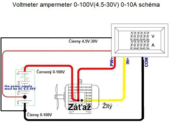 schéma voltmeter ampermeter