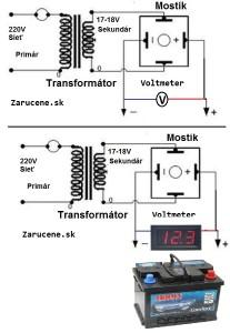 voltmeter pre nabijacku olovennych autobaterí