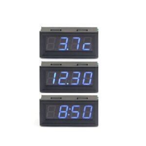 modry voltmeter teplomer hodiny