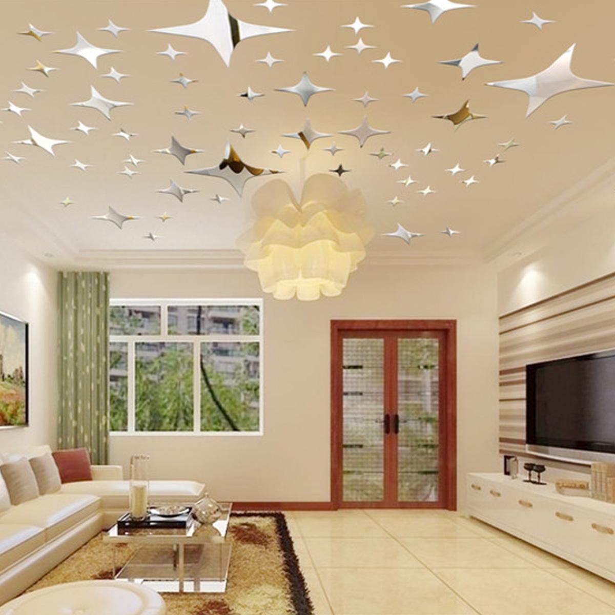3d zrkadlov hviezdi ky na stenu strop 43 kusov - Tavole adesive per pareti 3d ...