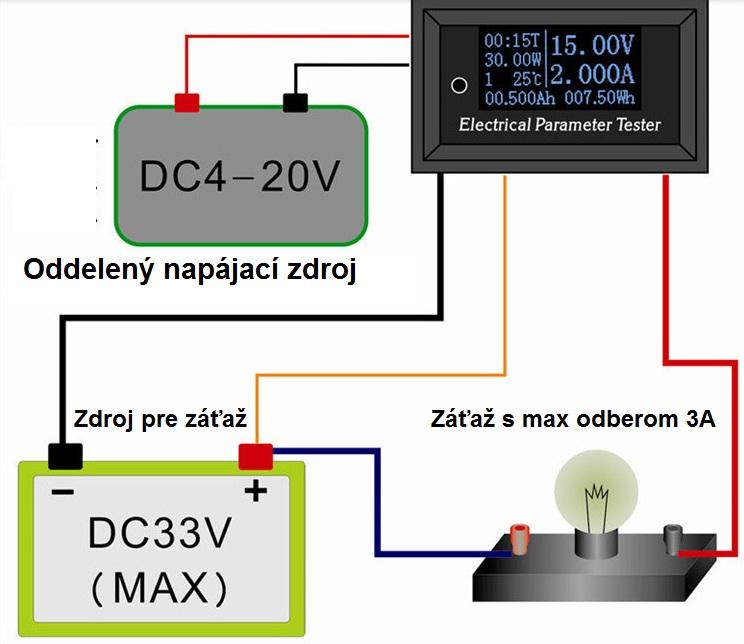 schema voltmeter ampermeter watmeter merač energie do zdroju